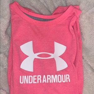 pink under armor short sleeve shirt